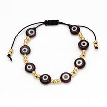 Load image into Gallery viewer, (LUCKY EYE GLASS) Beaded Bracelet Colorful Evil Eye Charm Bracelet Gold Silver Color Chain Bracelet for Women Female Jewelry EY476