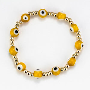 (LUCKY EYE GLASS) Beaded Bracelet Colorful Evil Eye Charm Bracelet Gold Silver Color Chain Bracelet for Women Female Jewelry EY476