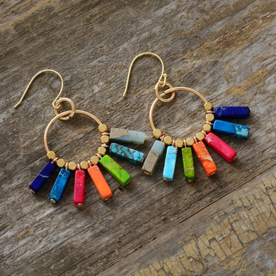 (CHAKRA NATURAL STONE EARRINGS)  Gold Color Beads Dangle Earrings Designer Bohemian Women Drop Earrings Gifts Dropship