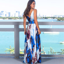 Load image into Gallery viewer, (TROPICAL LONG DRESS)  Sling Cross Back Women V neck Party Night Elegant Sexy Maxi Summer Dresses