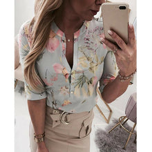 Load image into Gallery viewer, (LADY SUMMER SHIRT) Loose Shirts Shirt OL Clothes Plain Casual Button Blouse Office Lady Summer Chiffon Shirts blusa feminina