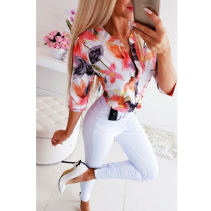 (LADY SUMMER SHIRT) Loose Shirts Shirt OL Clothes Plain Casual Button Blouse Office Lady Summer Chiffon Shirts blusa feminina