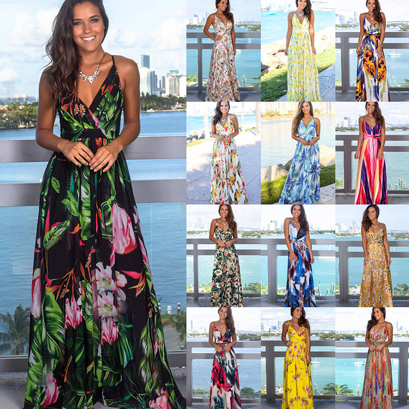 (TROPICAL LONG DRESS)  Sling Cross Back Women V neck Party Night Elegant Sexy Maxi Summer Dresses