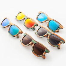 Load image into Gallery viewer, (MULTICOLOR WOODEN) Polarized sunglasses for women men Colorful Bamboo sun glasses Beach eyeglasses