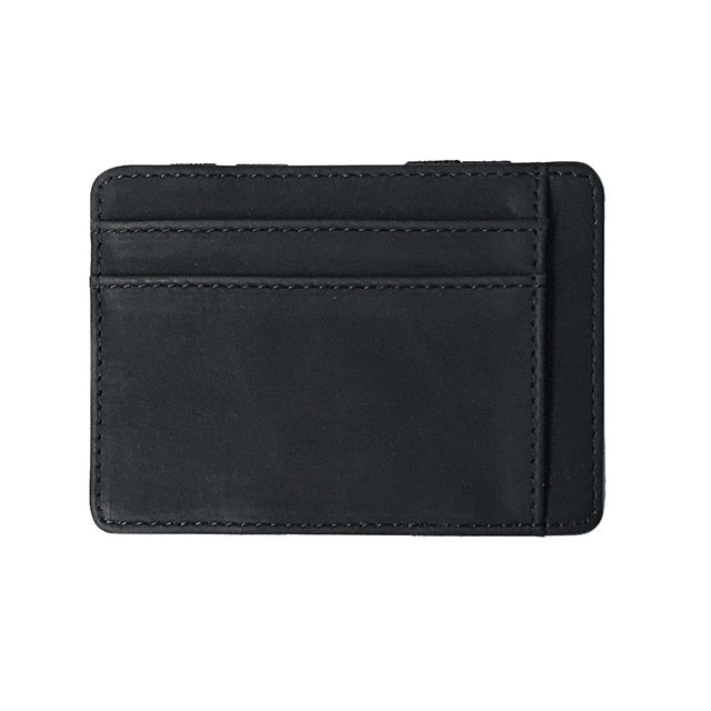 (ULTRA THIN WALLET) Small Wallet Business PU Leather Magic Wallets Band Solid Color Card Coin Purse Credit Bank Holder