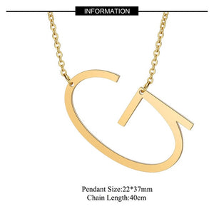 (INITIAL NECKLACES) 100% Stainless Steel Jewelry Big Letter Necklace A-Z Gold Necklace Monogram Necklace Gifts
