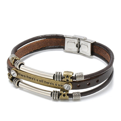 (PLATING SILVER) Bracelet Multi-layer Leather Pulseiras Men Jewelry for Women Bileklik