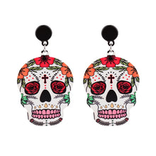 Load image into Gallery viewer, (Cross Skull Earrings) calaveras Celebrate Mexican Day of the Dead Halloween Acrylic Cute Skull Earring For Women