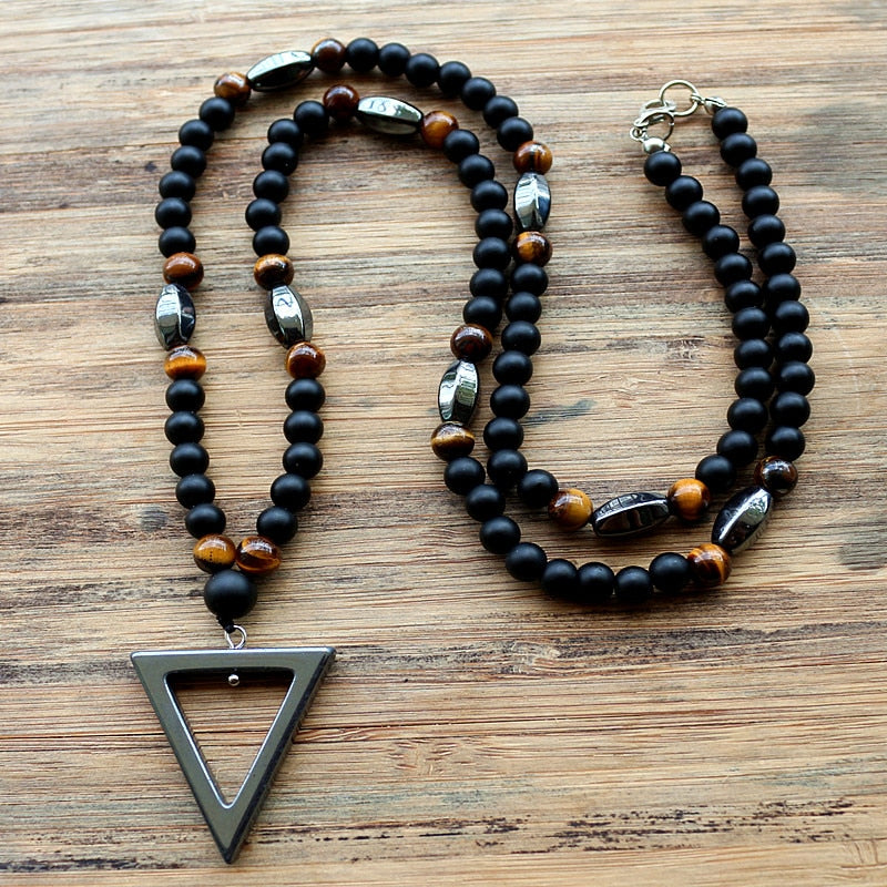 (TRIANGLE PENDANT) 6mm Tiger Stone bead Black Hematite Necklace Fashion Jewelry