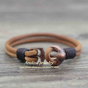 (CLASSIC ANCHOR) Charm Bracelet Leather Bangle Bracelets For Women Gift LOW0093LB
