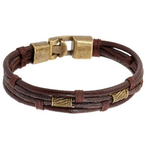 (COOL HEMP BRACELET) Braided Leather Stainless Steel Cuff Bangle Bracelet Wristband