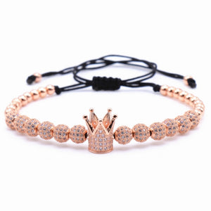 (ZIRCON CROWN) Bracelets Jewelry Cubic Micro Pave Charm & 4mm Round Beads Braided Macrame Bracelet