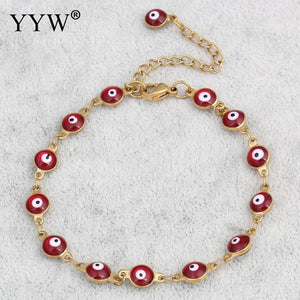 (PUNK LUCKY EYE) Jewelry Bracelet Vintage Gold-color Colorful Enamel Religious Turkish Evil Eye Charm Wristband Bracelets