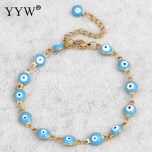 Load image into Gallery viewer, (PUNK LUCKY EYE) Jewelry Bracelet Vintage Gold-color Colorful Enamel Religious Turkish Evil Eye Charm Wristband Bracelets
