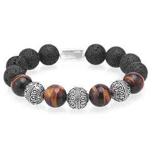(THAI SILVER) Beaded Bracelets BraceleT 12MM Tiger eye Lava beads Hand made bracelet