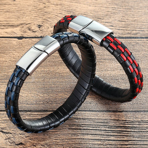 (NEW DESIGN LEATHER) Wrap Hand Made Men Stainless Steel Leather Bracelets Sport Magnetic Buckle Male Gift Jewelry