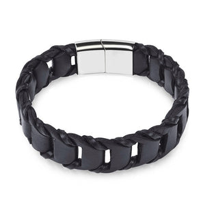 (LEATHER CHAIN) Bracelet for Men Brown Black Rope Chain Stainless Steel Clasp Magnetic Punk Jewelry