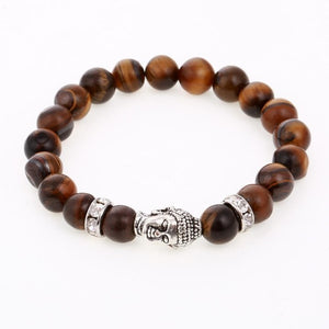 (BUDDHA HEAD-MICRO PAVE)  Lava Rock Stone Energy Men European Buddha Jewelry