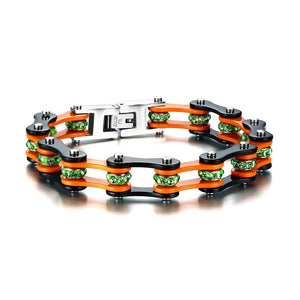 (Crystal Bikers Motorcycle) Chain Bracelet Crystal Stainless Steel