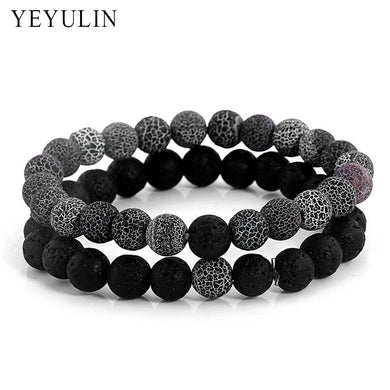 (2PCS LOVERS NATURAL LAVA) Stone Beaded Bracelet Reiki Balance Prayer Beads Bangle Jewelry For Couple