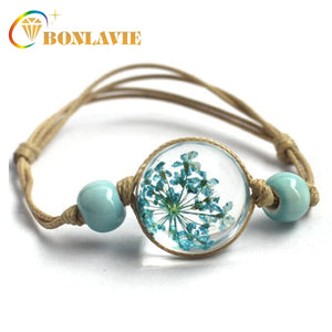 (GLASS BALL) Bracelet Jewwlry  Women Romantic Dry Flowers Bracelet & Bangle