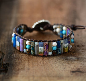(TUBE SHAPE NATURAL STONE)Single Leather Wrap Bracelet Semi Precious Stone Beaded Cuff Bracelet Dropship