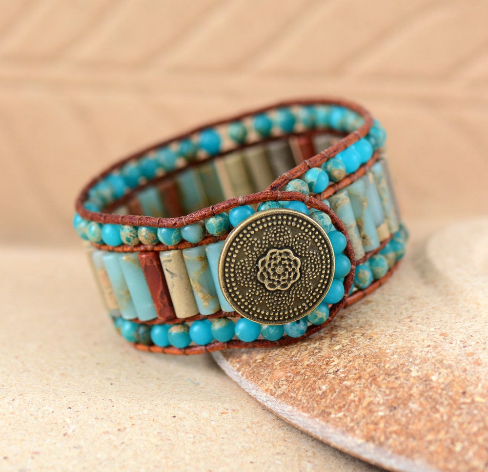 (UNIQUE NATURAL STONE) Vintage Leather Wrap Bracelets Wholesale Bohemian Woven Stone Cuff Bracelet