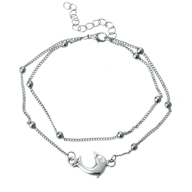 (Dolphin Anklet) Beads Anklets For Women 2018 New Boho Leg Jewelry Silver Color Bracelet Handmade Sandals Gift