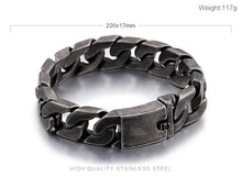 Load image into Gallery viewer, (Matte Bike Chain) Bracelets For Men 25mm Width Chunky Heavy Stainless Steel Brushed Black Link Chain Bracelet Male Jewelry