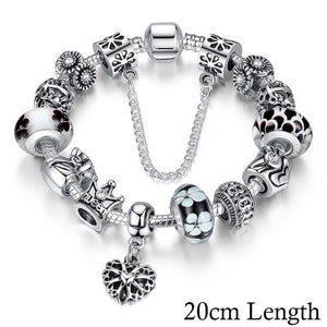 (Queen crown) Jewelry Silver Charms Bracelet & Bangles for Women