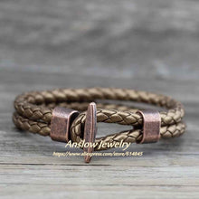 Load image into Gallery viewer, (Antique Copper) Plated Leather Bracelet