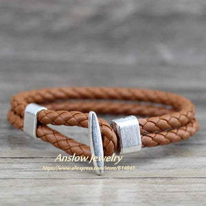 (Antique Copper) Plated Leather Bracelet