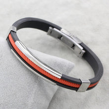 Load image into Gallery viewer, (RUBBER-COLORFUL ROPE) Black Silicone Rubber Stainless Steel Jewelry Bracelet Bangles