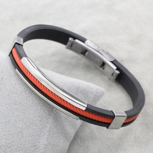 (RUBBER-COLORFUL ROPE) Black Silicone Rubber Stainless Steel Jewelry Bracelet Bangles