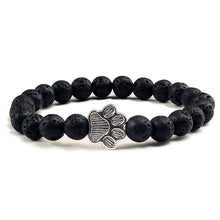 Load image into Gallery viewer, (PAW BRACELET) Natural Lava Volcanic Stone Paw Print Charm Bracelet Pet Memorial Cat Dog Lovers
