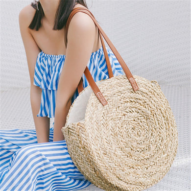 (Palm Basket Bag) Women Hand Woven Round Straw Bags Natural Oval Beach Bag Big Tote Circle Handbag