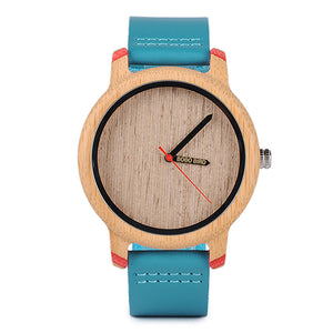 (Timepieces Bamboo) Bobo Bird Watches Luxury Quartz Wristwatches with Leather Straps In Wooden Gifts Box