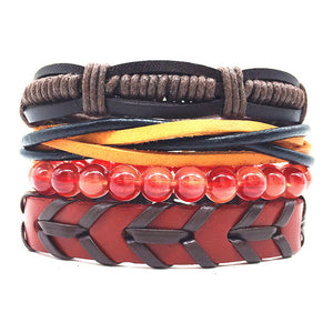 (BRACELET SET) Handmade Woven Men Leather Bracelets Women Vintage Bangle Male Homme Jewelry Accessories