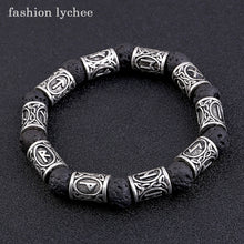 Load image into Gallery viewer, (RUNE VOLCANIC) Lava Stone Natural Black Color Bracelet Metal Men Beads Bangle Jewelry