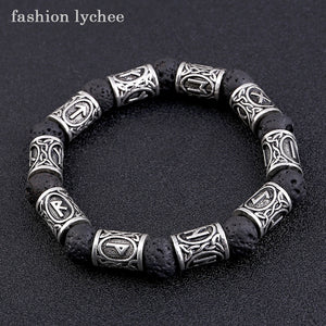 (RUNE VOLCANIC) Lava Stone Natural Black Color Bracelet Metal Men Beads Bangle Jewelry