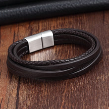 Load image into Gallery viewer, (MULTI LEATHER) Stainless Steel Chain Genuine Leather Bracelet Men Vintage Male Braid Jewelry for women