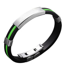 Load image into Gallery viewer, (RUBBER-STAINLESS STEEL) Wristband Clasp Cuff Bracelet