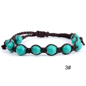 (TURQUOISES BEADS) Rope Braided Bracelets  Handmade Weave Jewelry