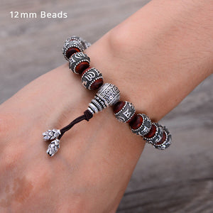 (LOBULAR RED) Sandalwood Inlaid 925 Sterling Silver Buddha Mantra