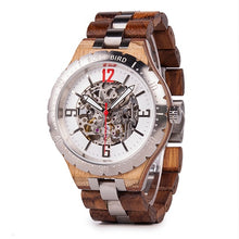 Load image into Gallery viewer, (Mechanical Watch) Bono Bird Men Wood Metal Automatic Wristwatch Waterproof Business Military Timepiece Armbanduhr