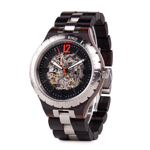 (Mechanical Watch) Bono Bird Men Wood Metal Automatic Wristwatch Waterproof Business Military Timepiece Armbanduhr