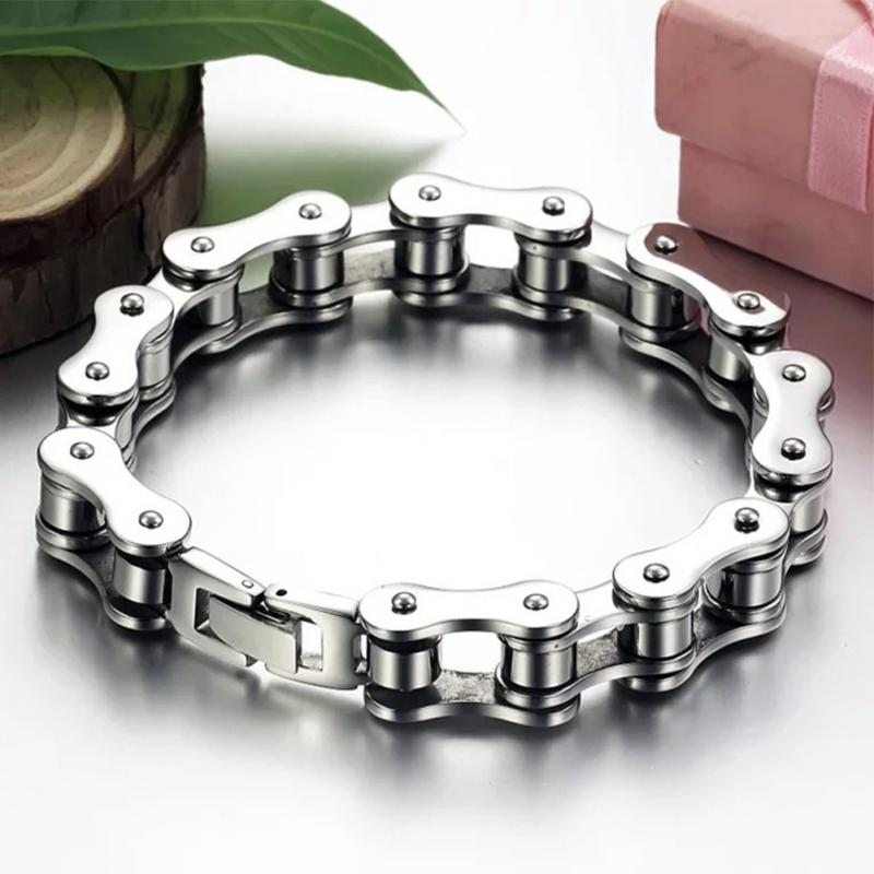 (BIKER BRACELET) Bangle Punk Titanium Steel Bracelet Men Bangle Men  Fashion Trendy Bracelet