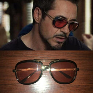 (Iron Man Sunglasses) Men Luxury Brand Eyewear Mirror Punk Sun Glasses Vintage Male Sunglasses Steampunk Oculos