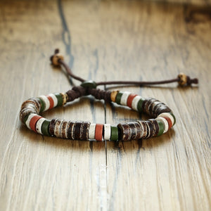 (HOLIDAY NATURAL STONE) Beaded Bracelets for Men Women Adjustable Length Multi Color Beads Casual Male Jewelry Rope Pulseira