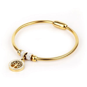 Luxury Tree of life Elastic Bracelet&Bangles Stainless Steel Rhinestone Magnetic Charms Bracelet For Women Fashion Jewelry Gift